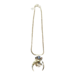 Nicole Romano Antiqued Gold Folded Grid, Crystal, Crescent Necklace