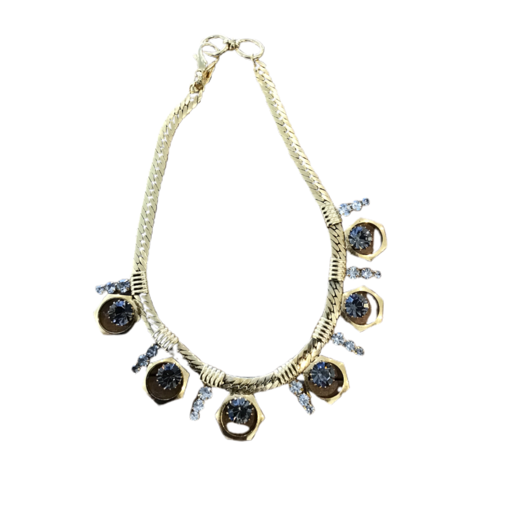 Nicole Romano Antiqued Gold Crystal And Bolt Detailed Necklace