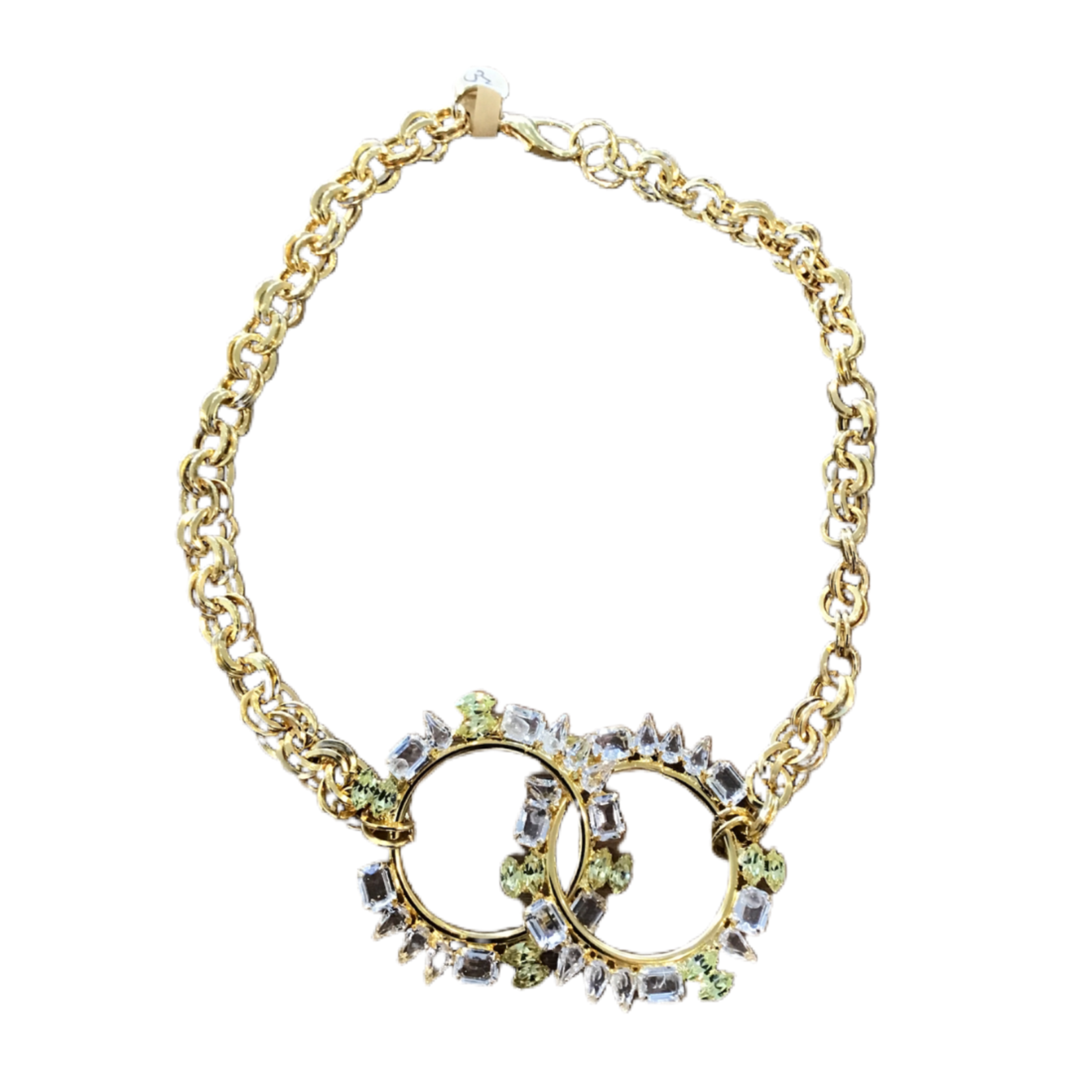Nicole Romano Gold Crystal Encrusted Linked Ring Necklace