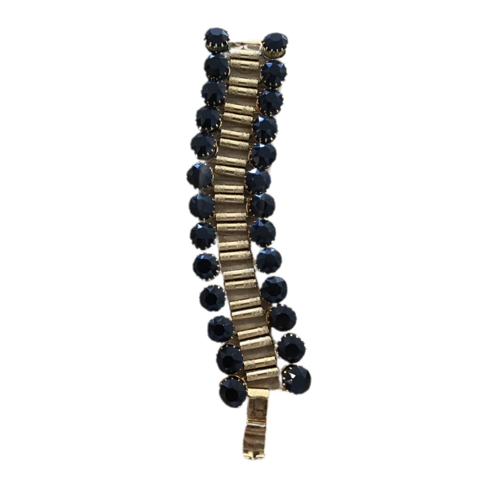Nicole Romano Onyx Faceted Stone Framed Band Chain Bracelet