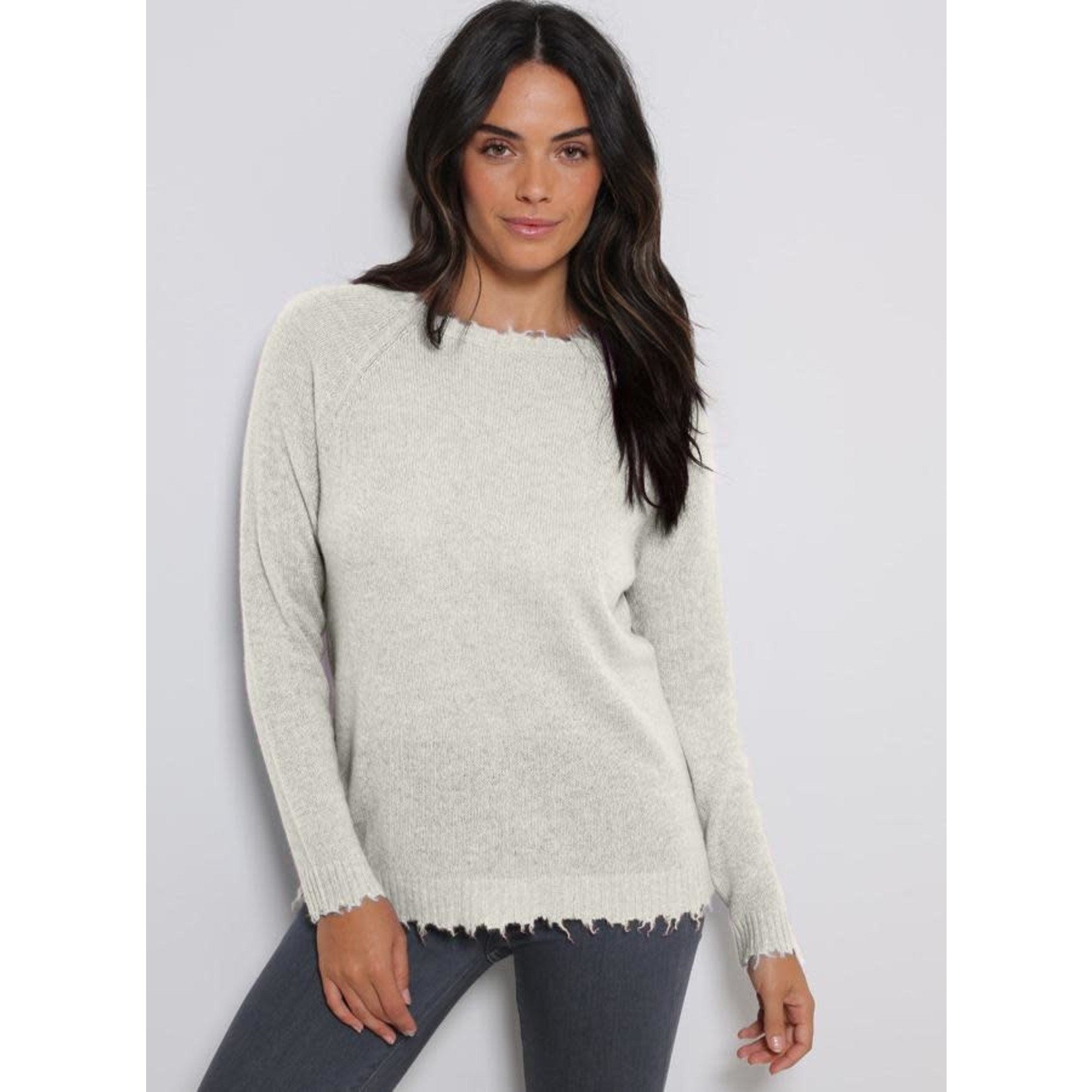 Minnie Rose Loading...                               Load image into Gallery viewer, Light Heather Grey                                                      Load image into Gallery viewer, Cashmere Distressed Long Sleeve Crew