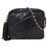 Wyld Blue Vintage Chanel Matrasse Fringe Single Chain Shoulder Bag Lambskin G Metal Fittings Black