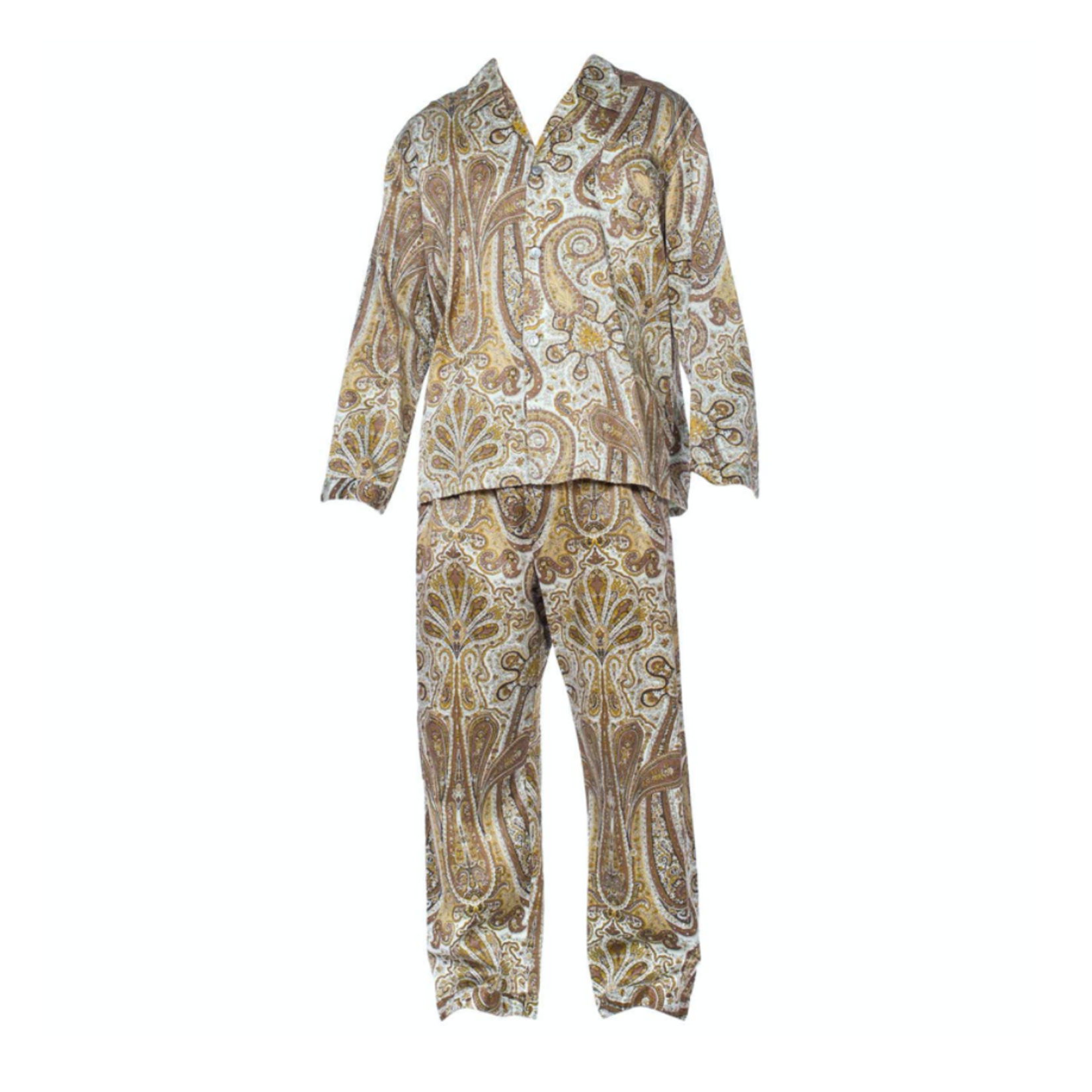 Wyld Blue Vintage 1970s Paisley Cotton Backed Rayon Satin Pajamas Set