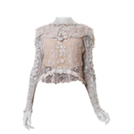 Wyld Blue Vintage 1900s White Hand Done Cotton Irish Crochet Long Sleeve Blouse With Collar