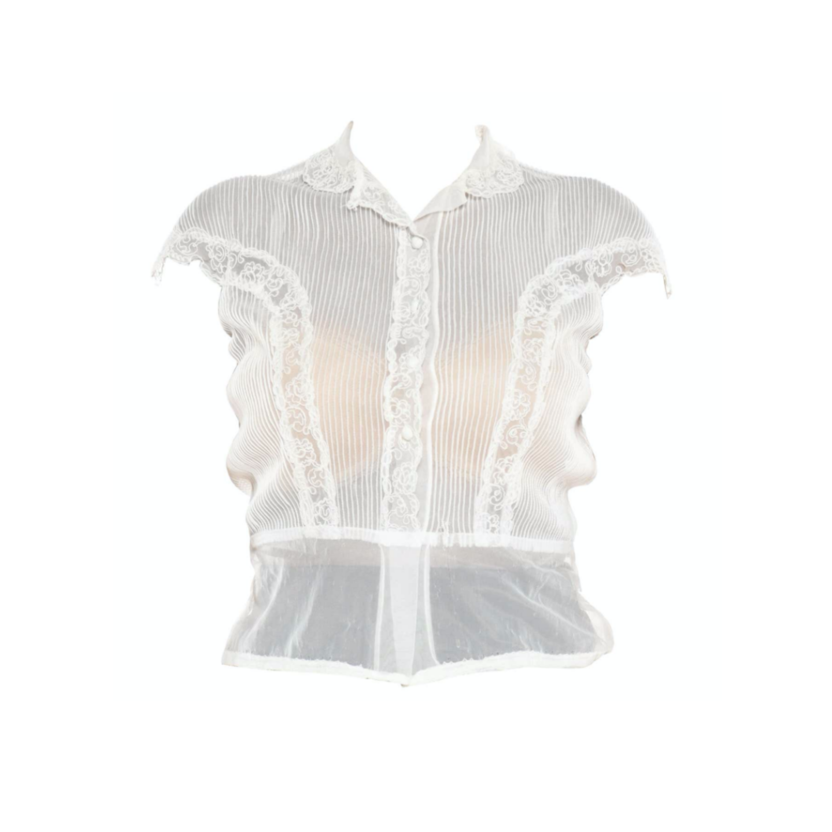 Wyld Blue Vintage 1950s Off White Sheer Nylon Pintucked with Lace Trim Blouse with Lace Trim Cap Sleeves