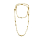 """Wyld Blue Vintage Chanel 2007 Ivory/gold Faux Pearl And Gold Bead Cc 46"""" Necklace"""