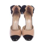 Wyld Blue Vintage Chanel CC Logo Velvet Bow Cap Toe Beige Black Heels Sz 37