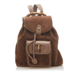 Wyld Blue Vintage Gucci Bamboo Dark Brown Suede Leather Womens Backpack