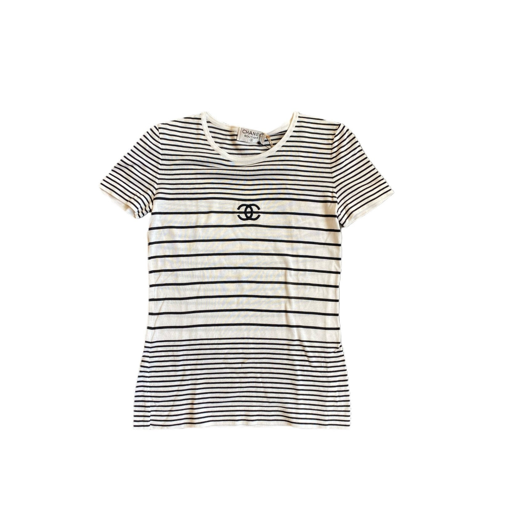 Wyld Blue Vintage Chanel Round Neck Striped Short Sleeve Top Black/White