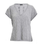 Minnie Rose Cashmere Frayed Edge Cap Sleeve V Neck Sweater