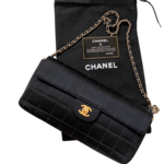 Wyld Blue Vintage Chanel Quilted Black Satin CC Turnlock Classic Flap Bag