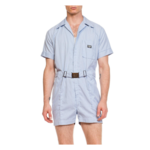 Wyld Blue Vintage 1950s BULLOCKS WILSHIRE Blue & White Pinstripe Cotton Men's Leisure Short Jumpsuit MENSP6ON0831