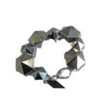 Nicole Romano Antiqued Silver Hexagon Stud Bracelet