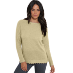 Minnie Rose Cashmere Distressed Long Sleeve Crew