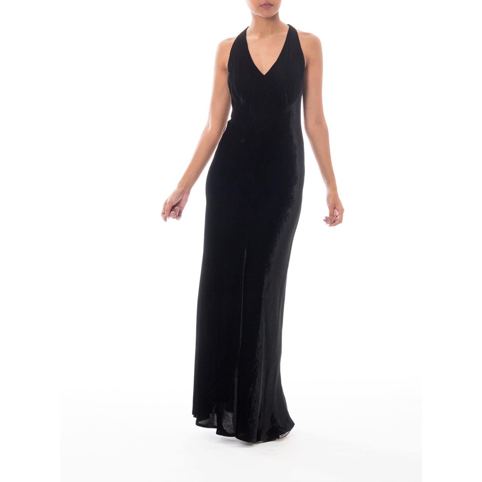 Morphew 1990s Donna Karan Black Bias Cut Rayon & Silk Velvet 1930s Backless Style Gown