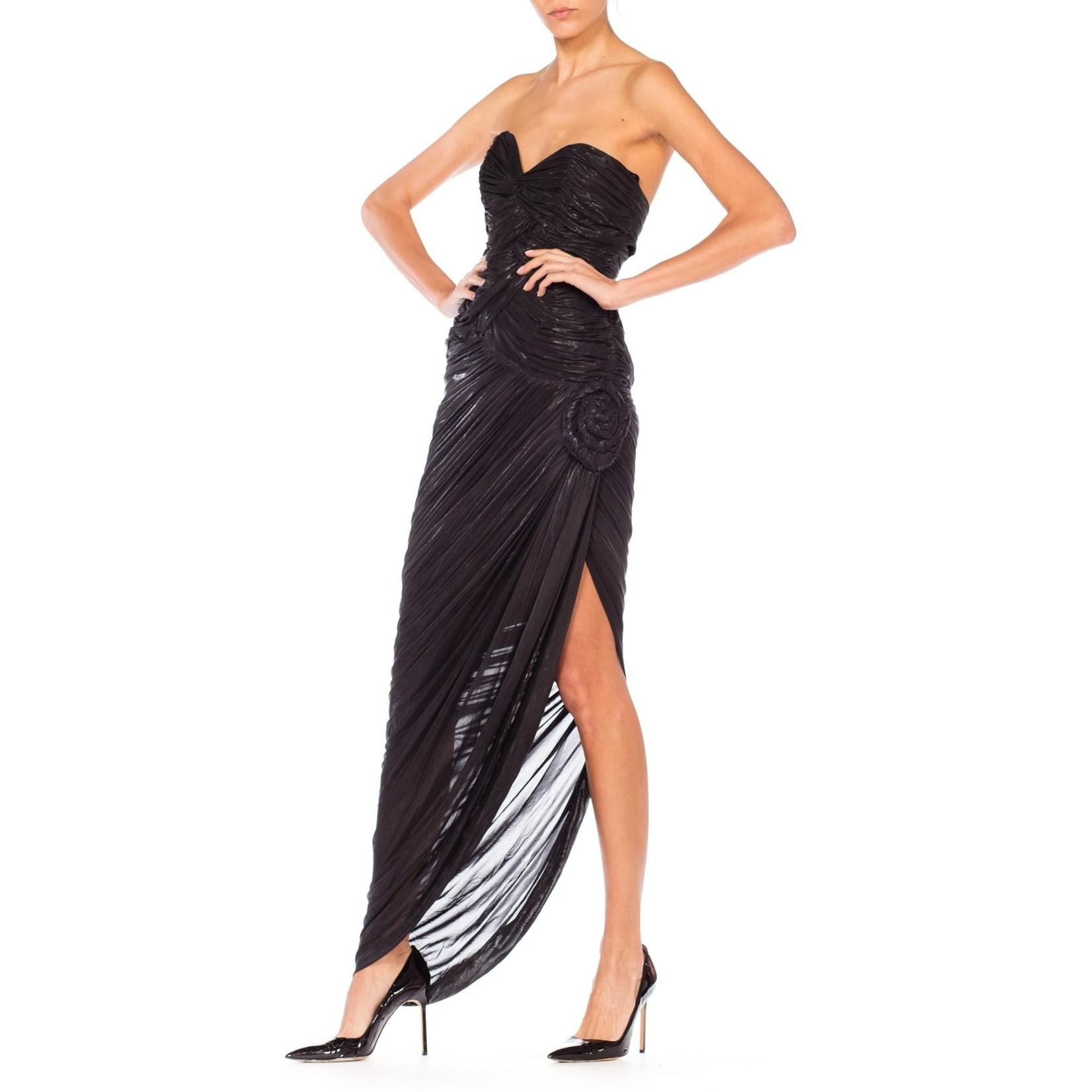 Morphew 1980s Claude Petin Paris Black Metallic Rayon Blend Chiffon Jersey Strapless High Slit Gown with Back Cut Outs