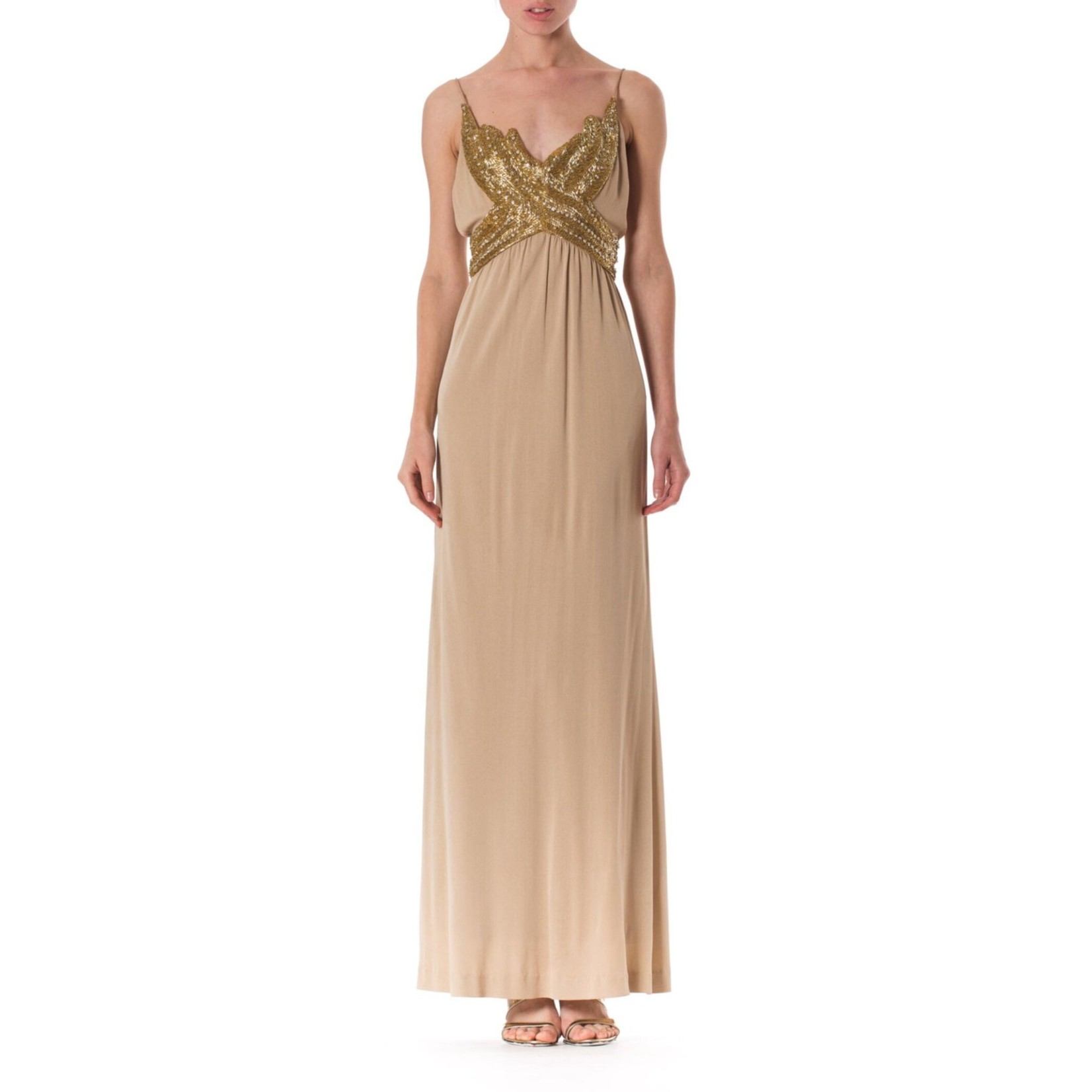 Morphew 1970s Champagne & Gold Silk Jersey Gown