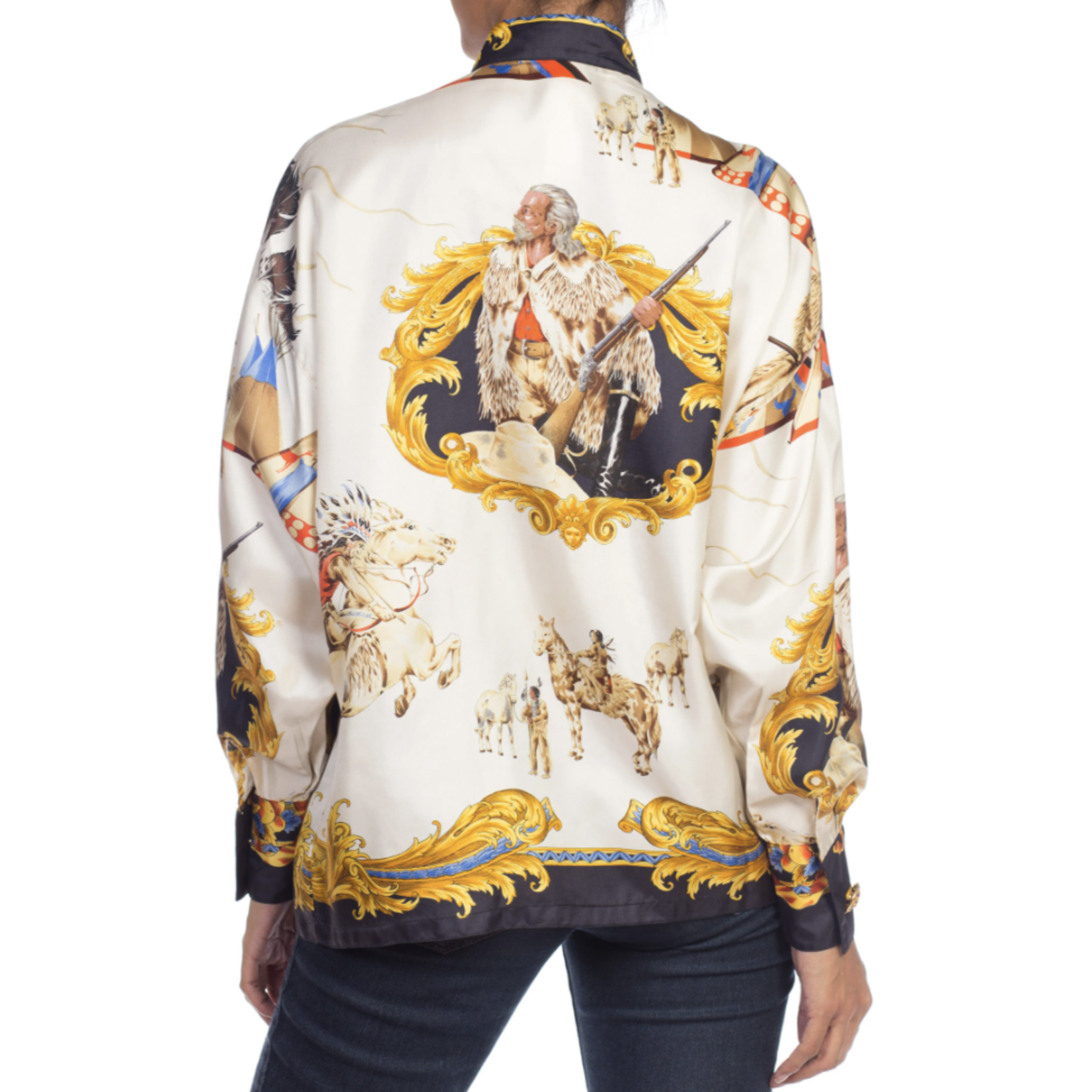 Morphew 1990s Gianni Versace Silk Native American Buffalo Bill Shirt sz 38