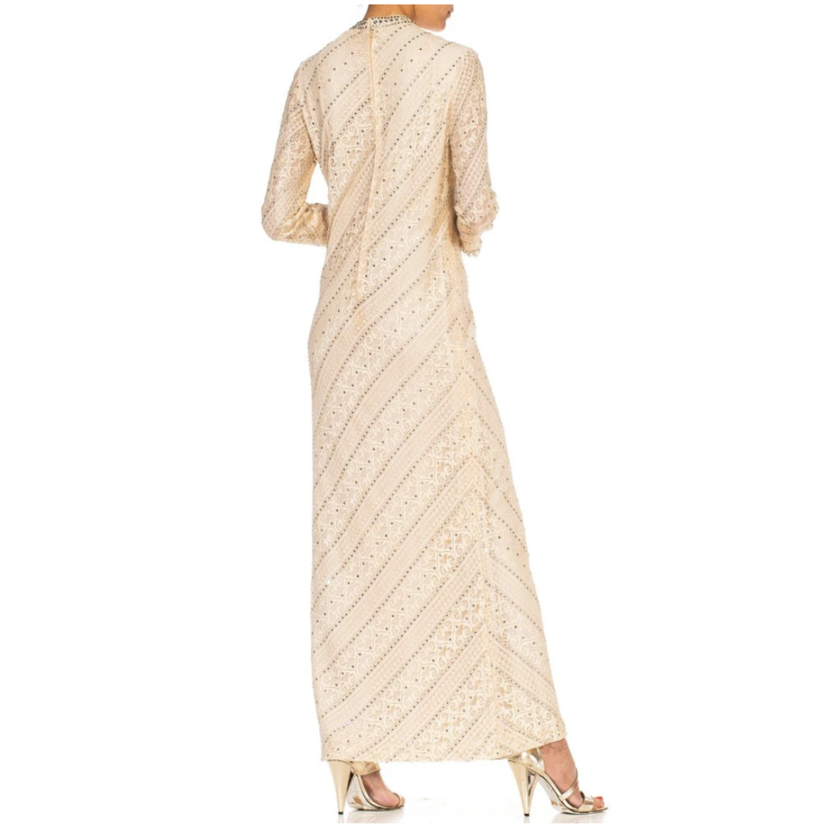 Morphew 1960s Cream Rayon Blend Lace Sleeved Gown Covered in Crystals