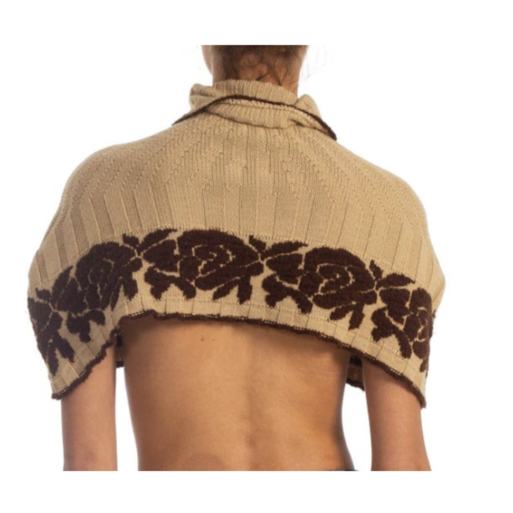 Morphew 1970s Beige & Brown Wool Blend Knit Sweater Cape with Rose Intarsia