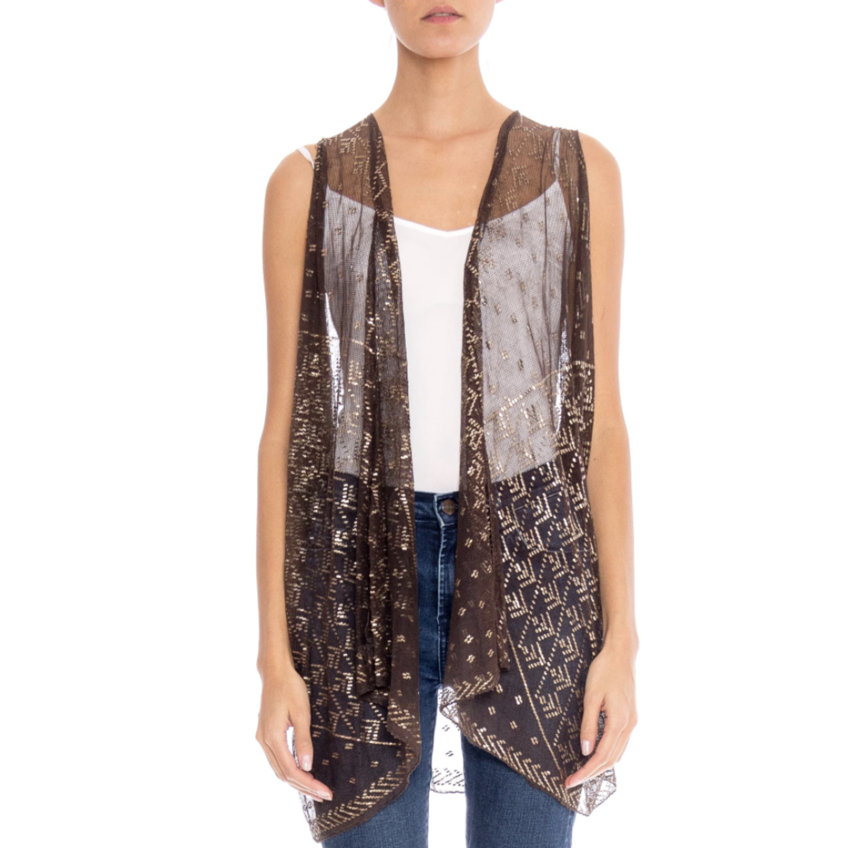 Morphew Chocolate Brown & Silver Egyptian Assuit Sheer Draped Vest