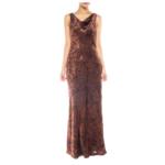 Morphew 1990s Carmen Marc Valvo Chocolate Brown & Black Rayon & Silk Burnout Velvet Backless Bias Gown