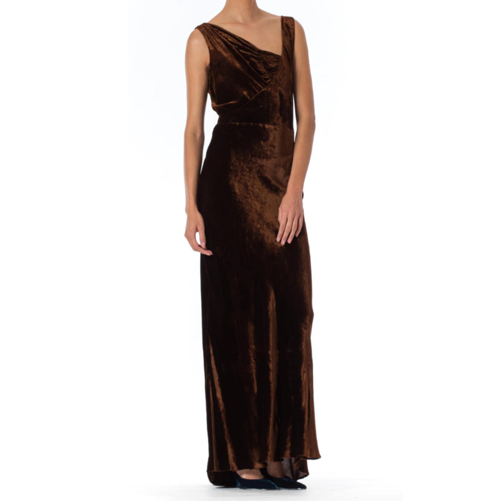 Morphew 1930s Harrods Chocolate Brown Asymmetrically Draped Bias Silk Velvet Gown