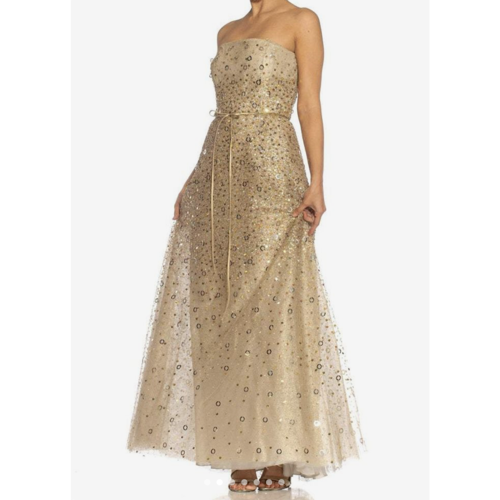 Morphew 1990s Pilar Rossi Oyster Grey Silk & Beaded Net Strapless Gown