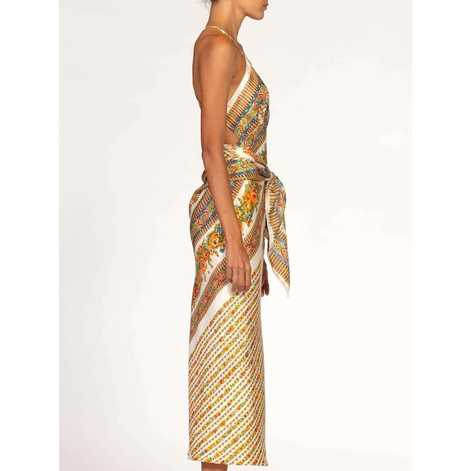 Morphew Cream & Earthtones Sagittarius Multi-Way Scarf Dress