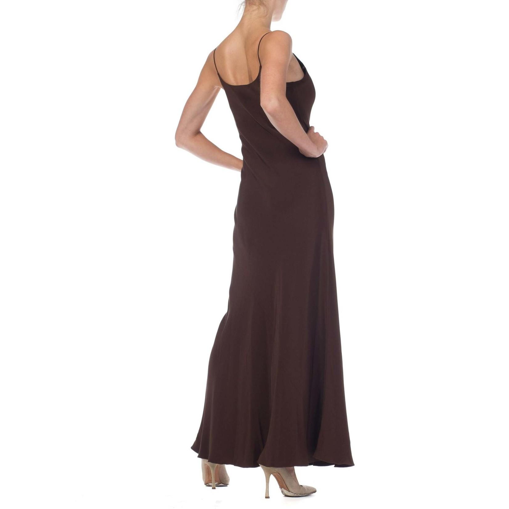 Morphew 1990s Melinda Eng Bergdorf Goodman Chocolate Brown Bias Cut Silk Crepe Minimalist Slip Dress Gown