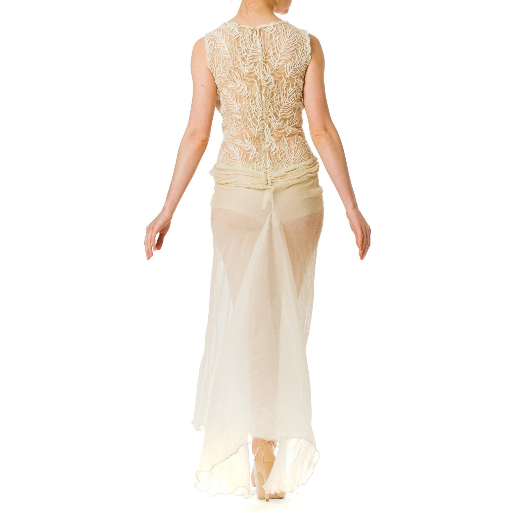 Morphew 1980S Off White Beaded Silk Mousseline & Gold Metallic Embroidered Lace Gown