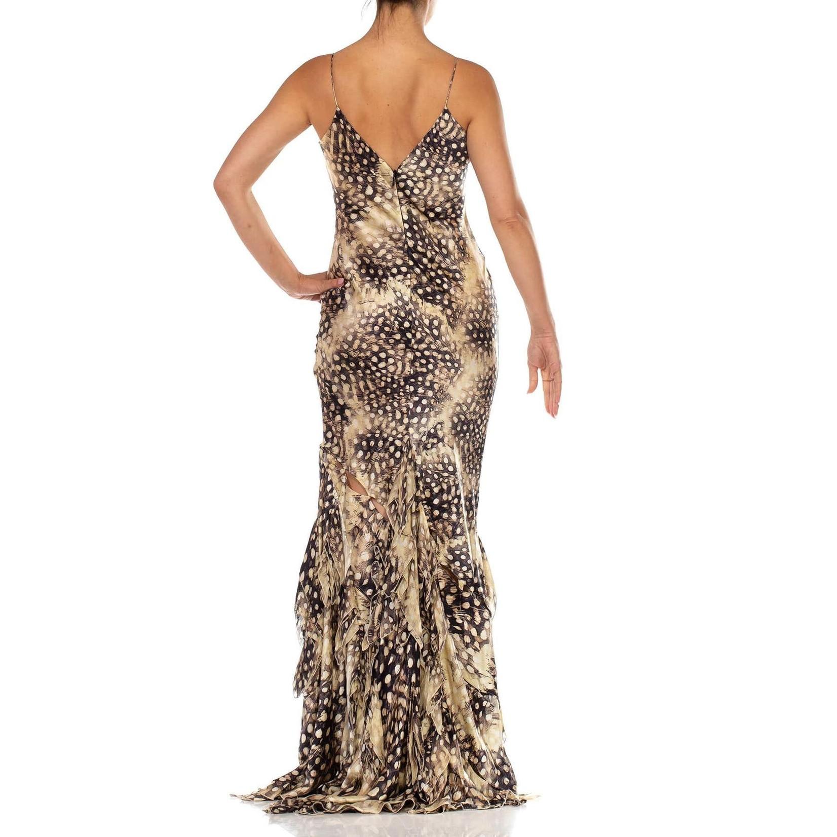 Morphew 2000s Roberto Cavalli Bias Cut Silk Charmeuse Feather Print Gown with Slashed Skirt & Chiffon Petals
