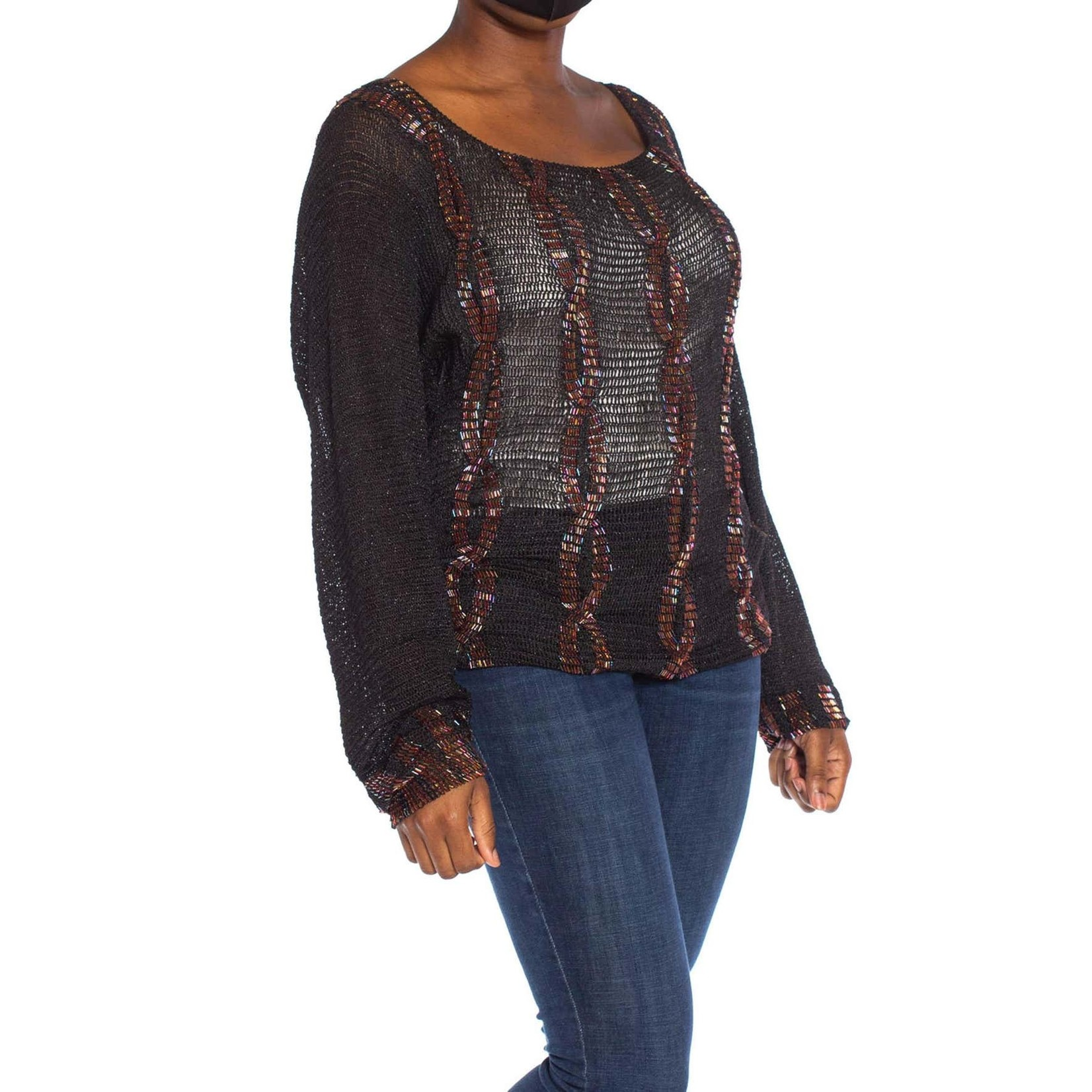 Morphew 1980s Black Rayon/Lurex Knit Sweater with Red Beaded Faux Knit Bands