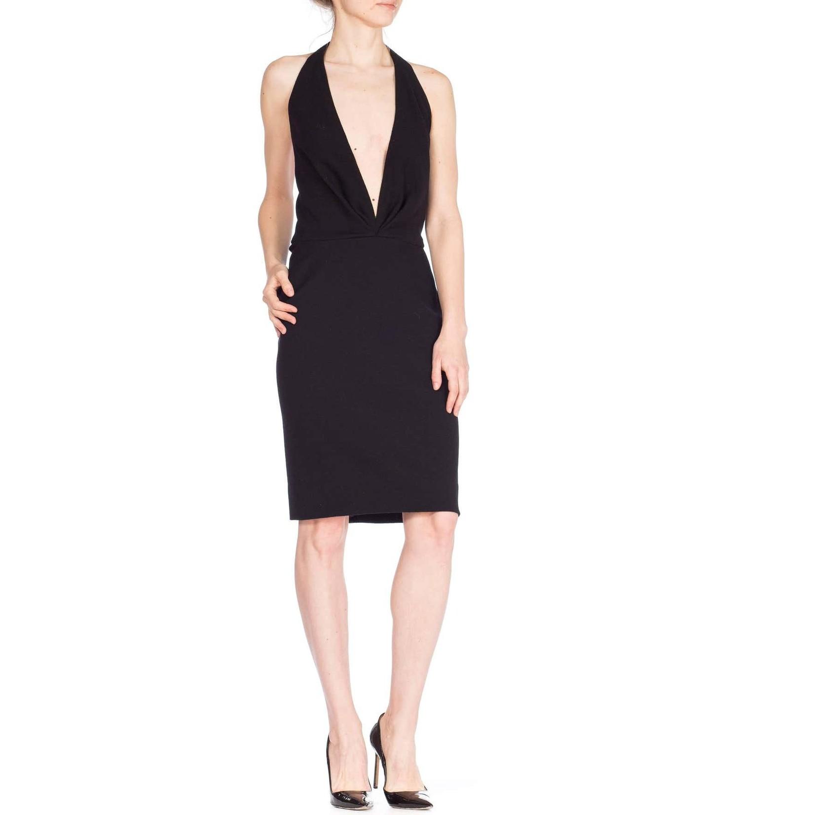 Morphew 1980s Donna Karan Black Wool Knit Low Cut Cocktail Dress