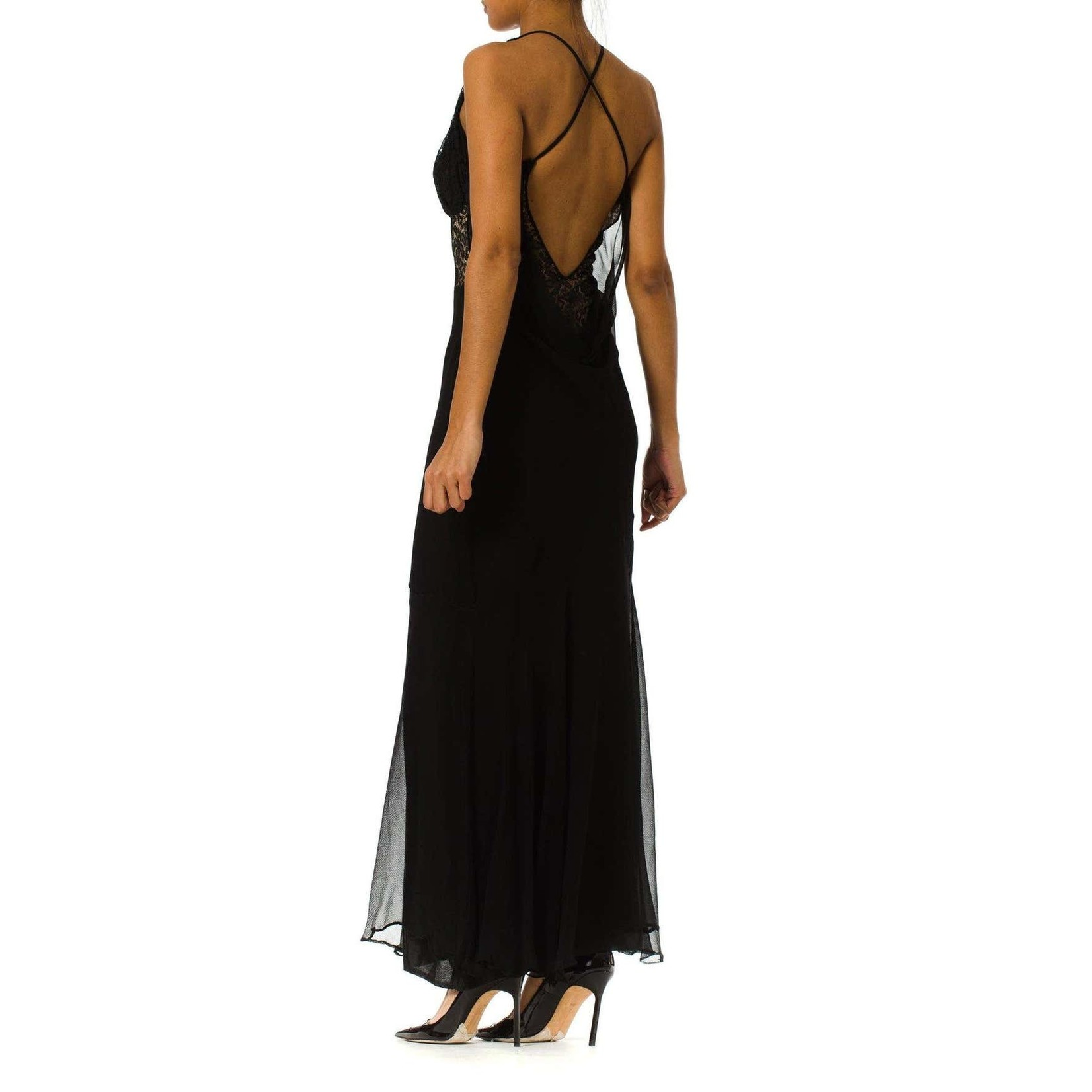 Morphew Black Sheer Silk Chiffon & 1930s Lace Backless Gown