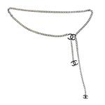 Chanel Coco Mark Chain Belt Silver Black