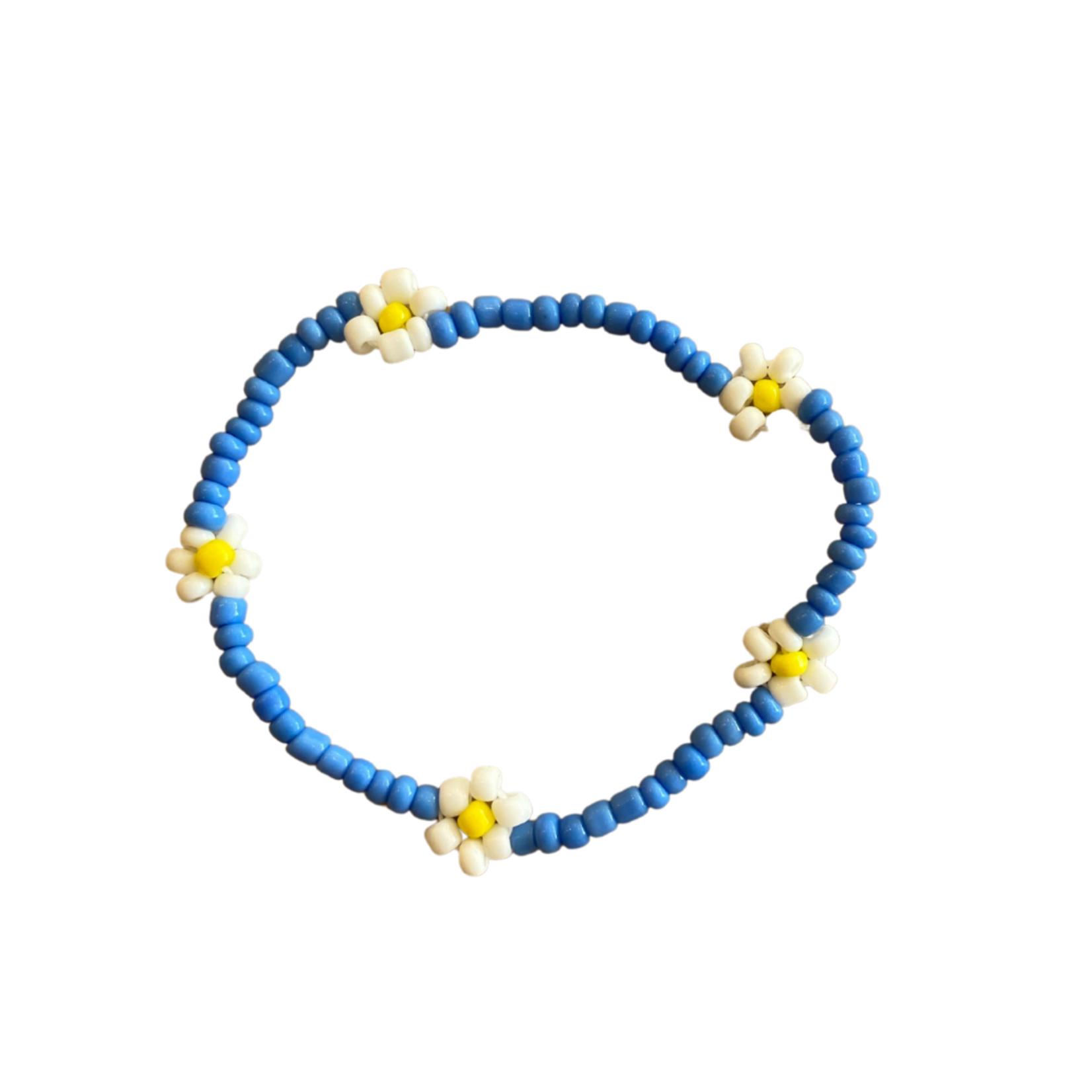 Wyld Blue Assorted Beaded Flower Bracelet
