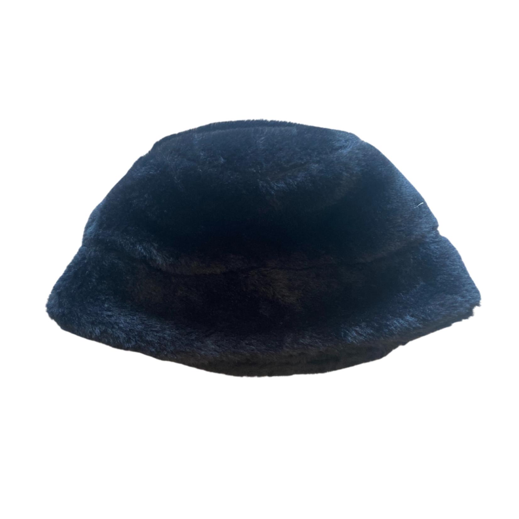 Wyld Blue Kids Kids Fur Bucket Hat - Black