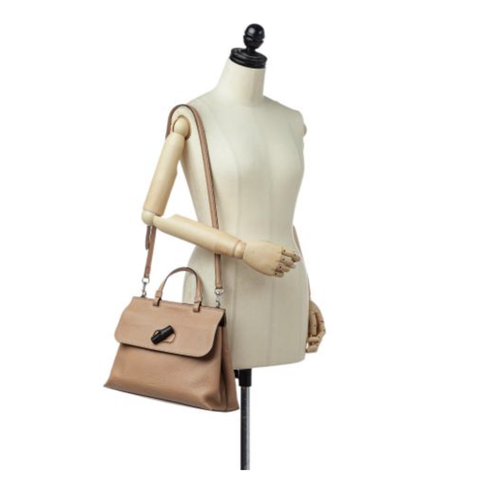 Wyld Blue Vintage Gucci Bamboo Daily Leather 2Way Bag Hand Bag Beige