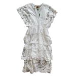 Wyld Blue White Richelier Midi Dress
