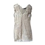 Morphew 1990s Maurizio Galante Ecru Haute Couture Silk Charmeuse Artfully Hand-Pleated Cocktail Dress
