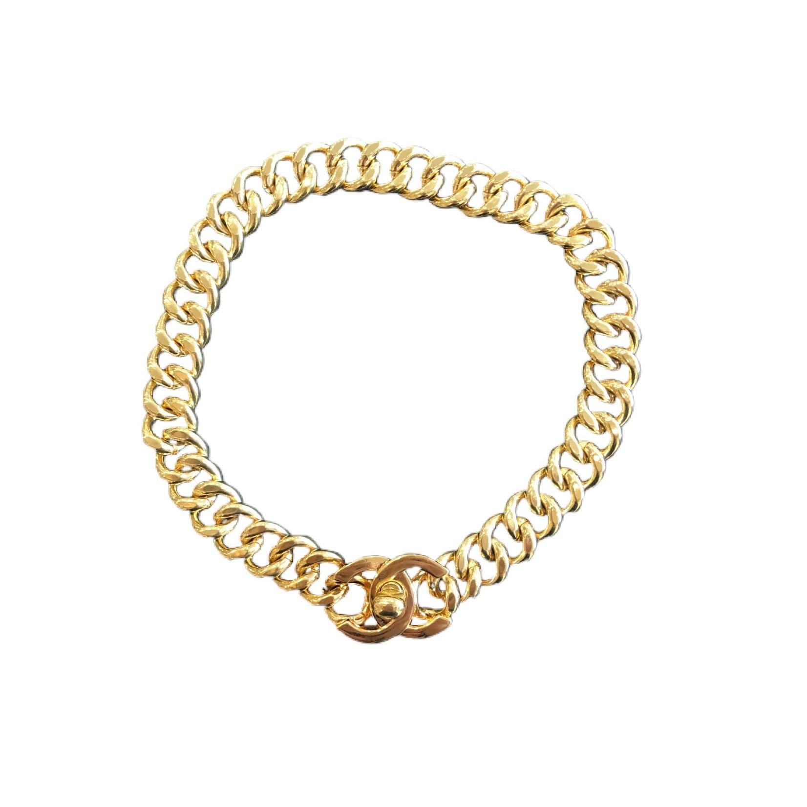 Wyld Blue Vintage 1995 Chanel Vintage Turnlock CC Choker Necklace 24k Gold Plated