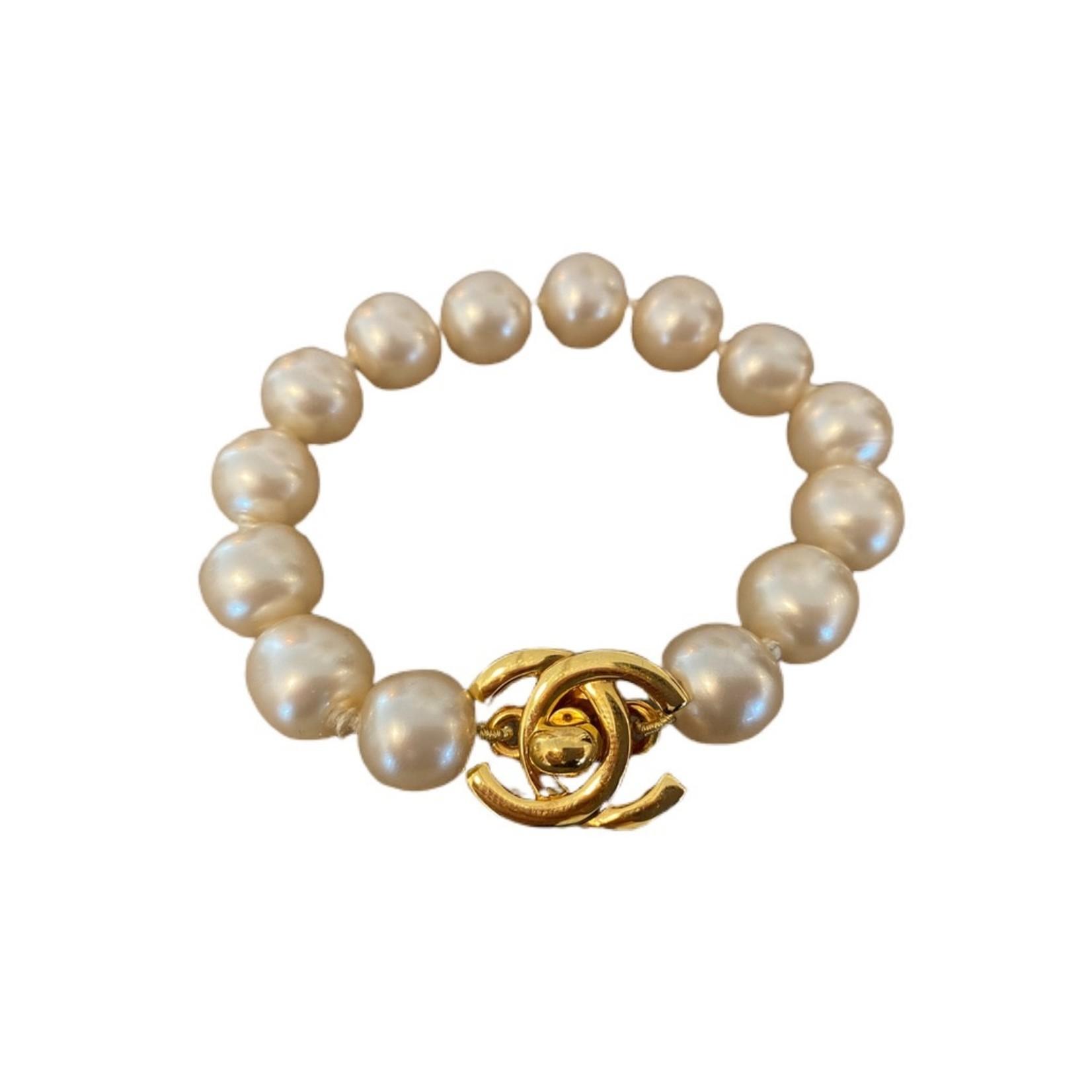 Wyld Blue Vintage Chanel Turnlock Pearl Bracelet