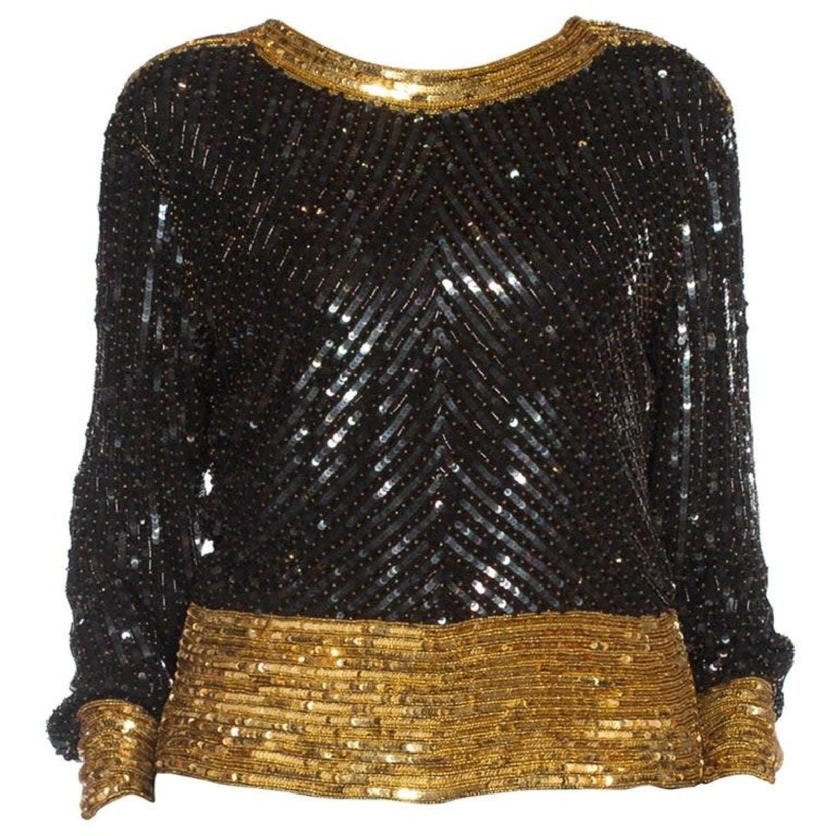Wyld Blue Vintage 1980s SAINT LAURENT RIVE GAUCHE Black & Gold Silk Chiffon Beaded Top DSBT9ON43086