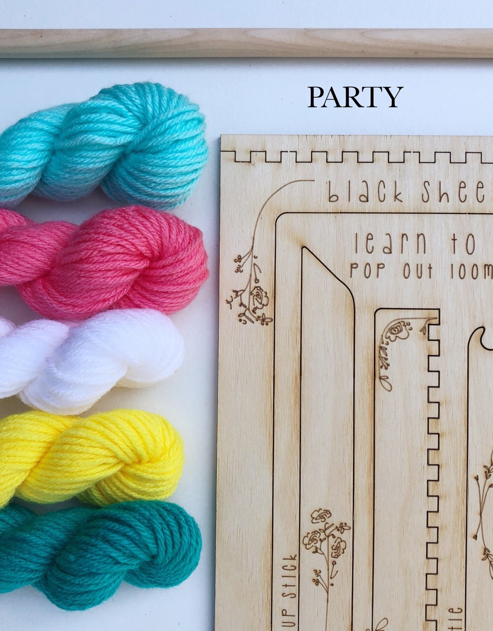 Black Sheep Goods Learn to Weave Kit: Pop Out Loom and Tools with Yarn