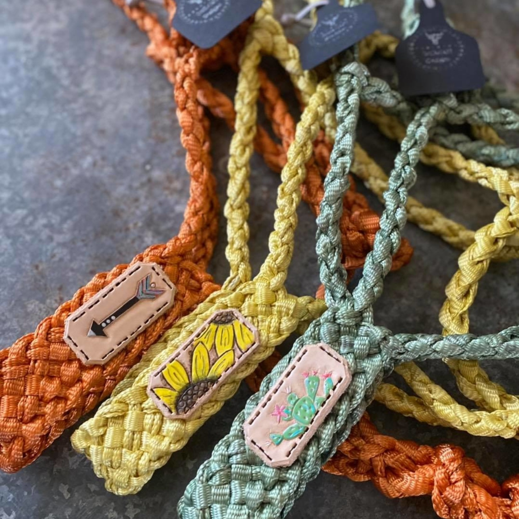 Mule Tape Halter - Orange Leather Arrow