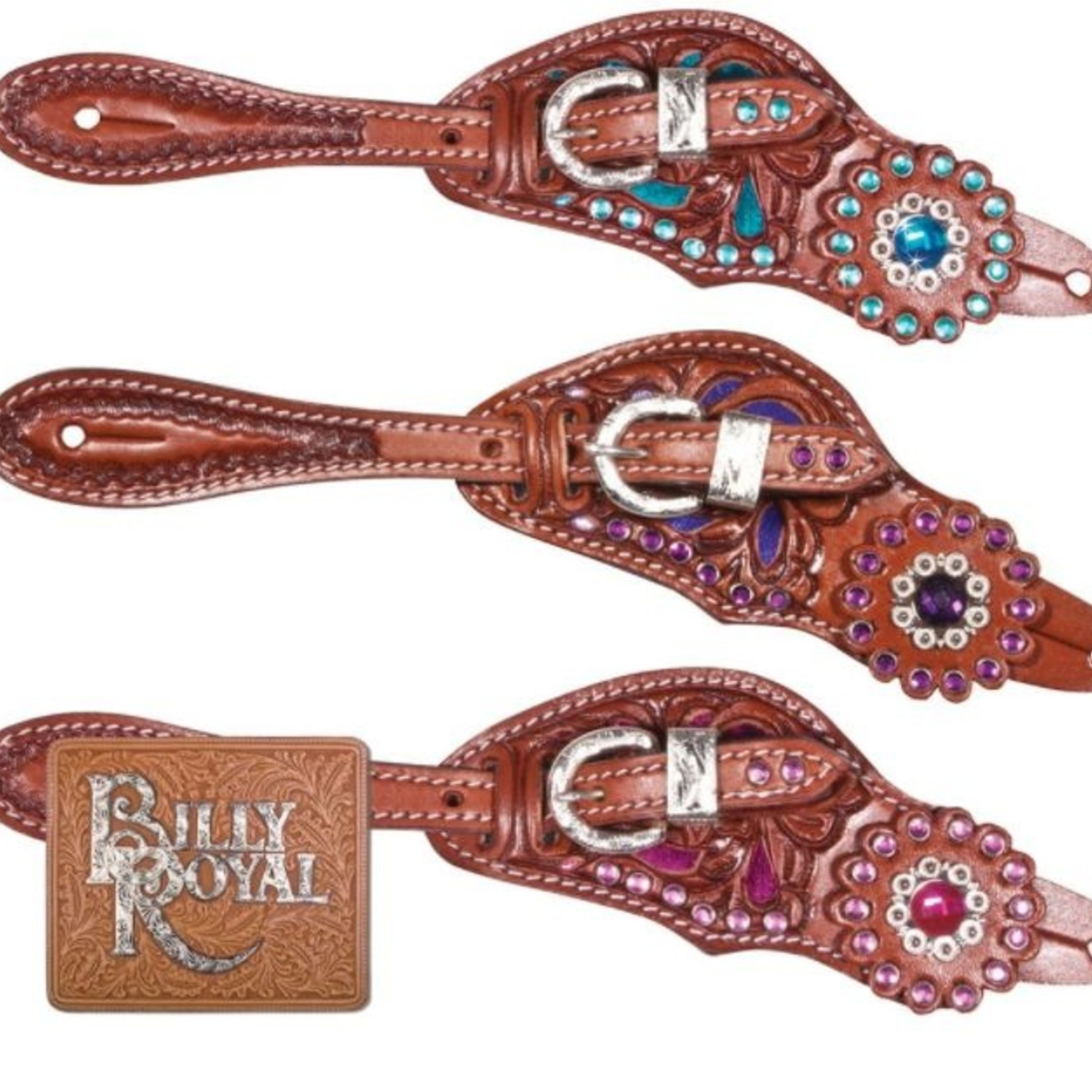 Billy Royal Crystal Ladies Spur Straps - Turquoise