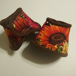 Bell Boots - Red Sunflowers