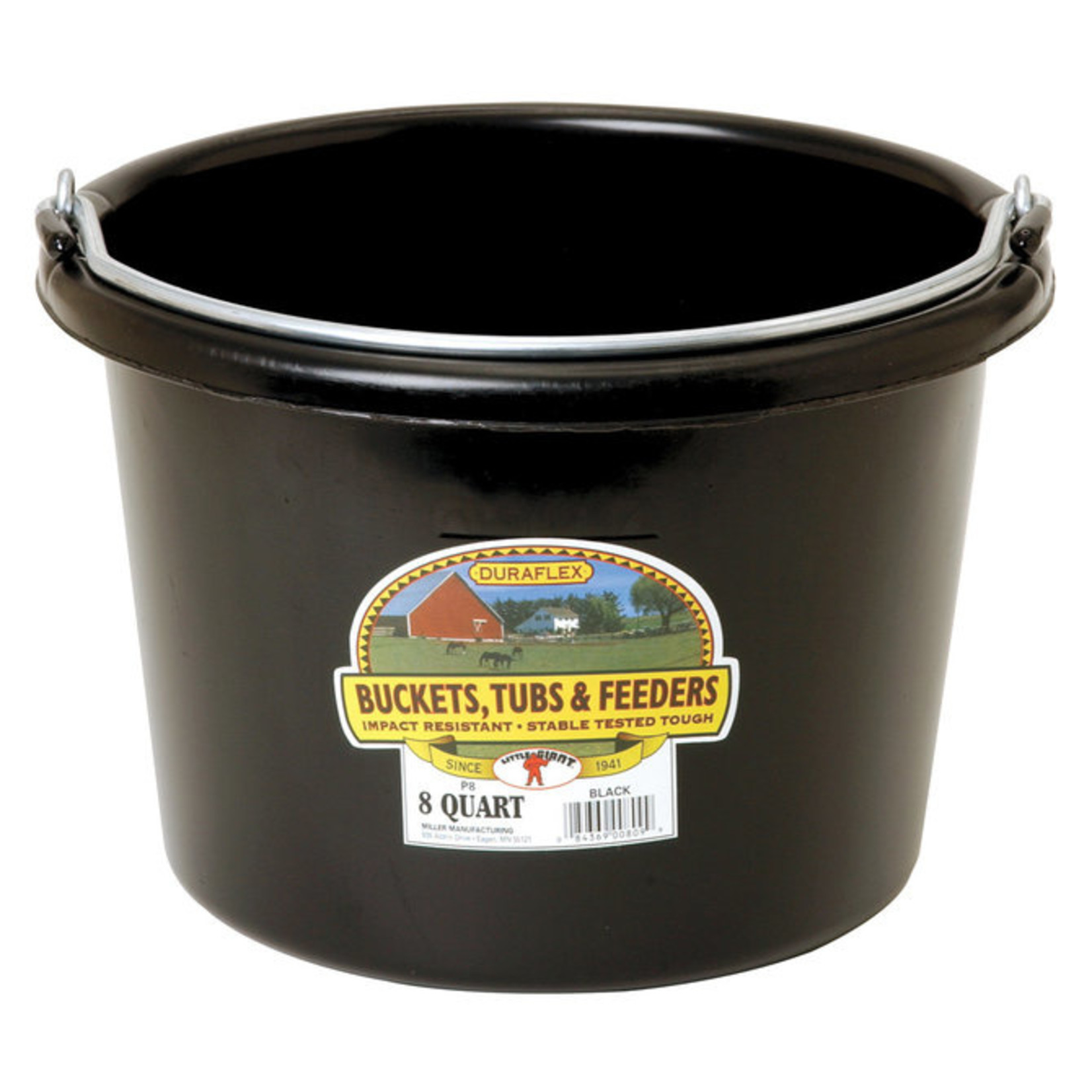 Plastic Bucket 8 qt Black