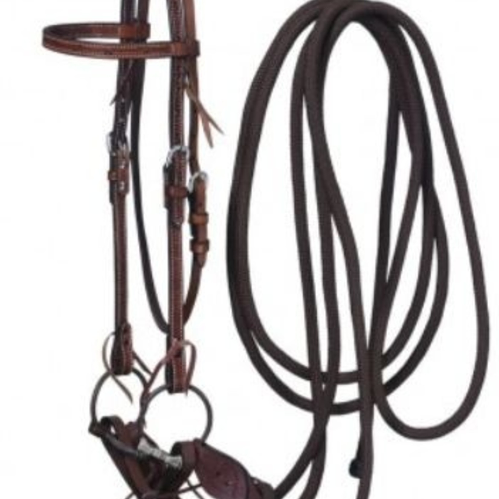 Leather Browband Headstall, Snaffle & Mecate Set